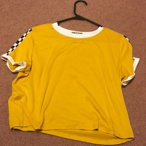 Yellow crop top with checkers
